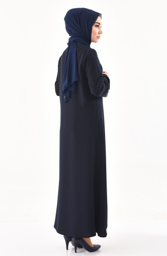 Sequin Detailed Zippered Abaya 1040-02 Navy Blue 1040-02
