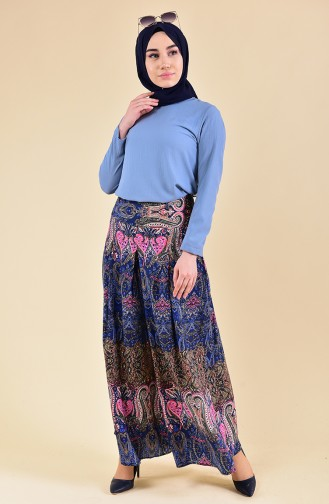 Oyya Shawl Patterned Viscose Pants Skirt 8129-01 Navy Blue 8129-01