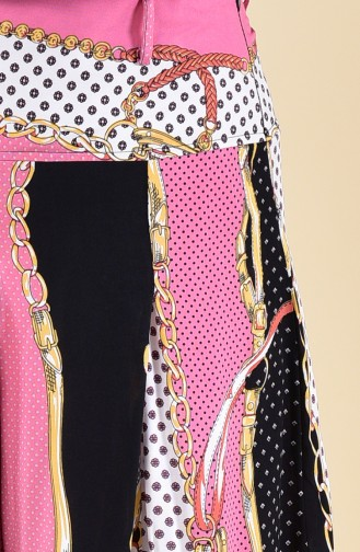 Oyya Patterned Viscose Pants Skirt 8130-01 Powder 8130-01