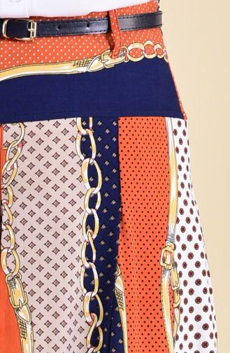 أويا بنطال فيسكوز بتصميم تنورة 8130-02 لون برتقالي 8130-02