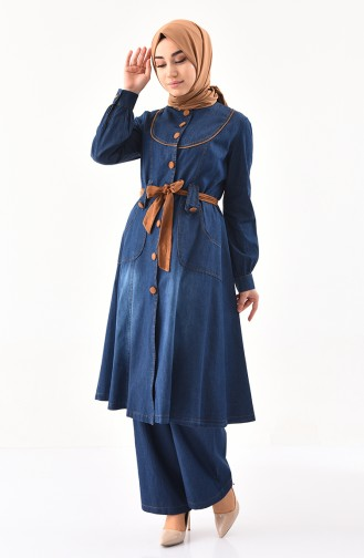 MISS VALLE Jeans Tunic Trousers Double Suit 9035-01 Navy Blue 9035-01