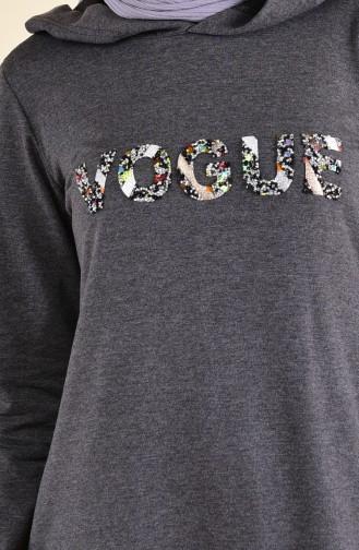 بي وست فستان رياضي بتصميم مُطبع 8323-01 لون اسود مائل للرمادي 8323-01