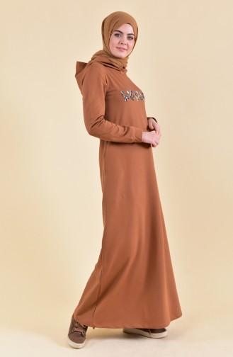 Baskılı Spor Elbise 8323-04 Hardal