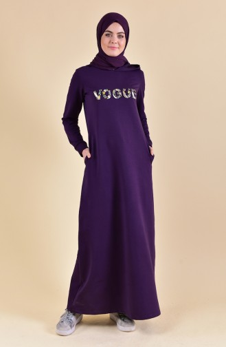 بي وست فستان رياضي بتصميم مُطبع 8323-05 لون بنفسجي 8323-05