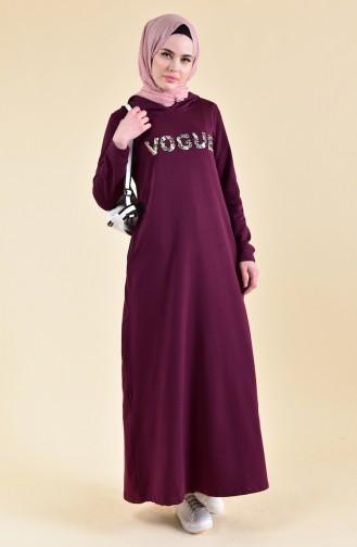 Baskılı Spor Elbise 8323-06 Mürdüm 8323-06