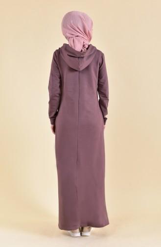 Baskılı Spor Elbise 8356-03 Kahverengi