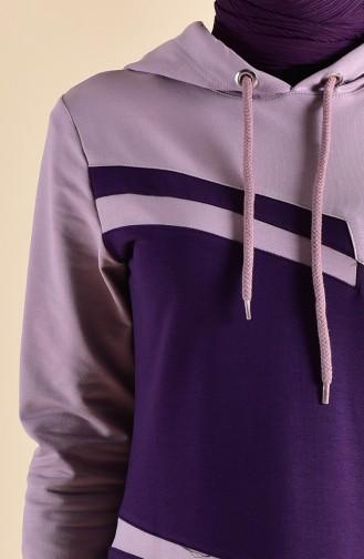 Kapüşonlu Spor Elbise 8363-03 Mor