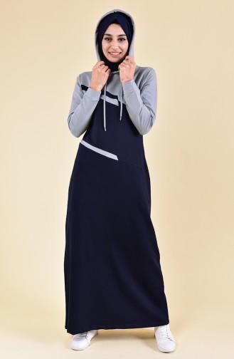 BWEST Hooded Sport Dress 8363-04 Navy 8363-04