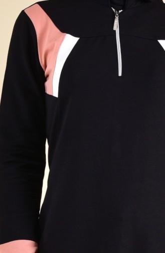 Fermuar Detaylı Spor Elbise 8373-04 Siyah