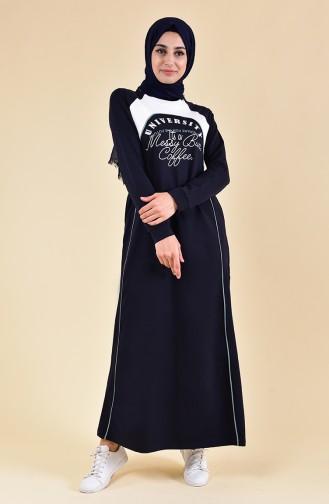 Baskılı Spor Elbise 8384-01 Lacivert 8384-01