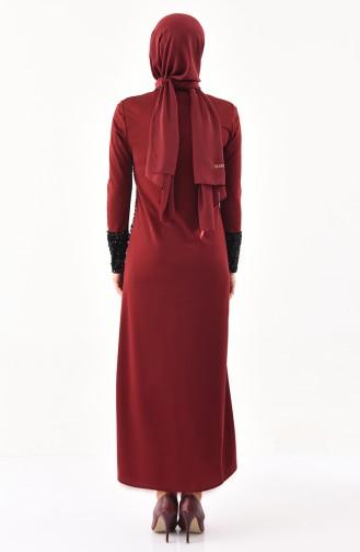 Payetli Elbise 4002-04 Bordo
