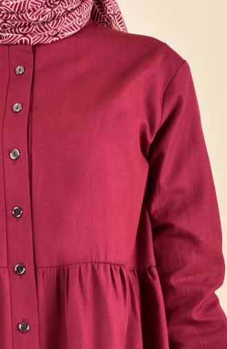 Pleated Waist Tunic 5000-05 Claret Red 5000-05