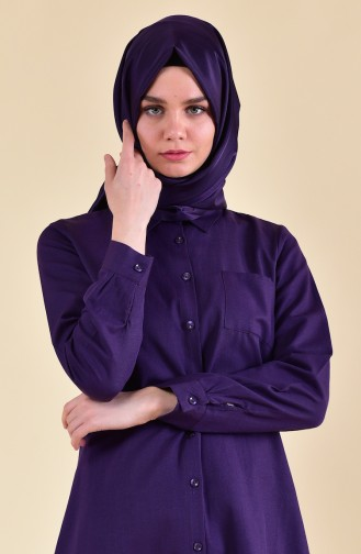 Minahill Pocket Buttoned Tunic 8202-17 Purple 8202-17