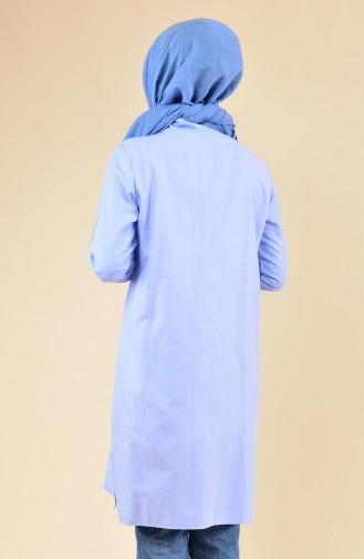 Yırtmaçlı Cepli Tunik 6350-08 Mavi
