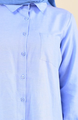 وايت بيرد تونيك بتفاصيل جيوب و فتحات من الجانب 6350-08 لون أزرق 6350-08
