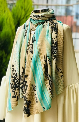 Patterned Crepe Shawl 60438-01 Mink Mint Green 60438-01
