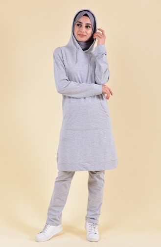 Hooded Tracksuit 18133-07 Gray Pink 18133-07