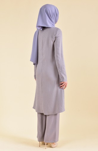BURUN   Striped Tunic Trousers Double Suit 11179-04 Gray 11179-04