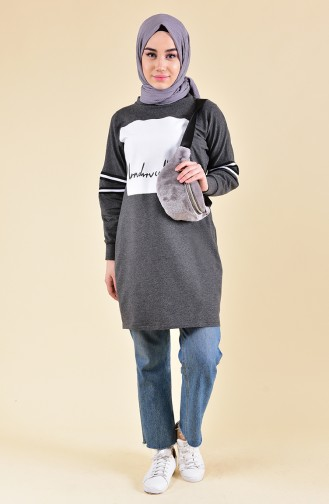 Printed Sweatshirt 3458-02 Gray 3458-02
