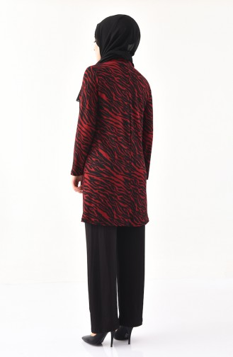Patterned Tunic Pants Binary Suit 2036-03 Red Black 2036-03