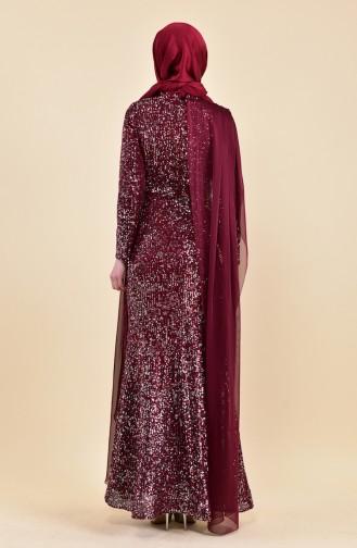 Sequined Evening Dress 6157-03 Plum 6157-03