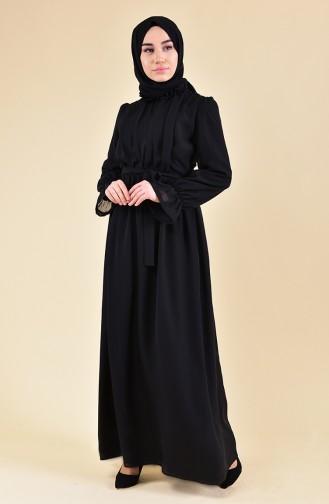 Kolu Lastikli Elbise 81594-02 Siyah
