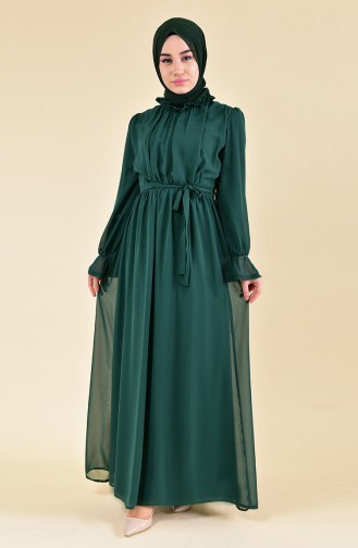 BURUN    Sleeve Elastic Dress 81594-04 Emerald Green 81594-04