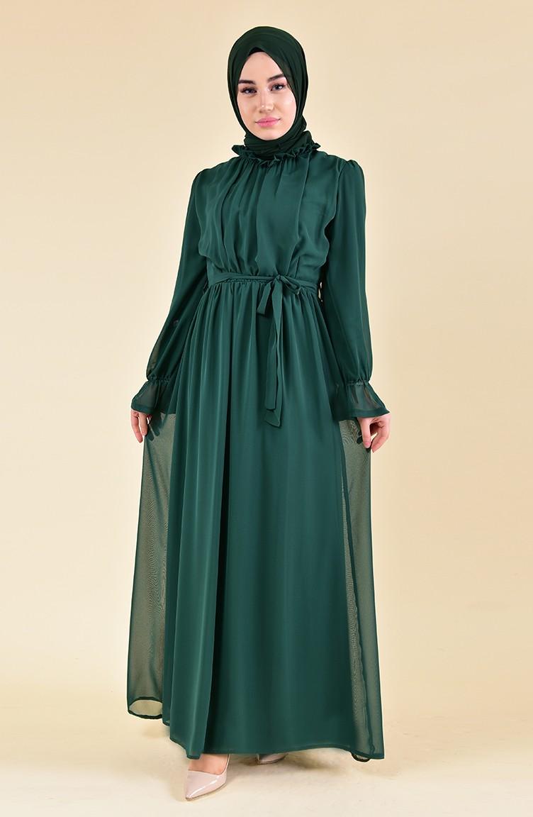 Kleid mit Gummi 18-18 Smaragdgrün 18-18