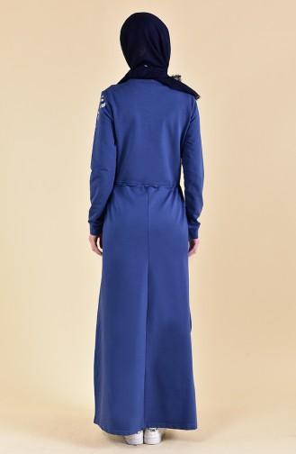 Beli Büzgülü Spor Elbise 9015-02 İndigo