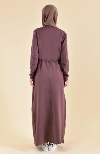 Beli Büzgülü Spor Elbise 9015-07 Kahverengi
