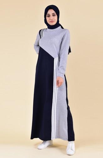 Şeritli Spor Elbise 9025-02 Gri Lacivert 9025-02