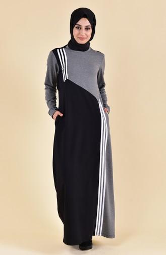 Şeritli Spor Elbise 9025-03 Siyah Füme