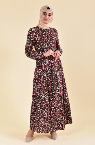 EFE Leopard Patterned Dress 0400-02 Red 0400-02