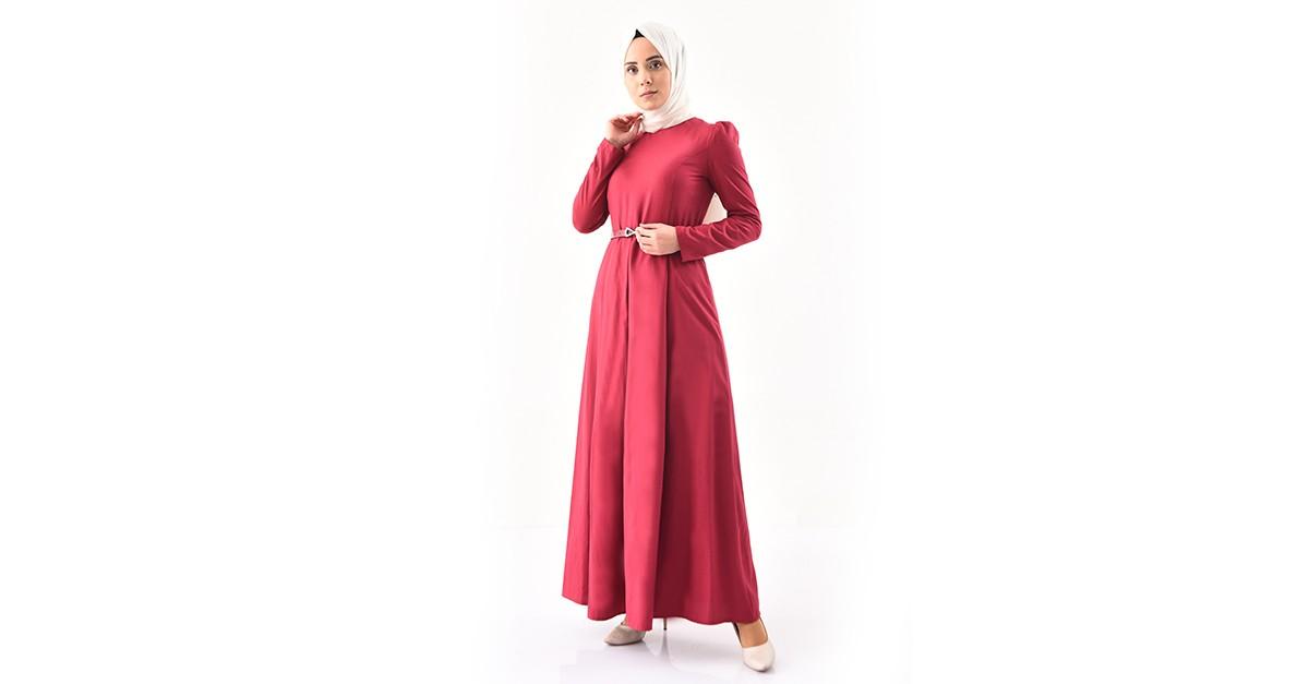 c1c400d3d48 TUBANUR Belted Dress 2781-24 Dark Fuchsia 2781-24