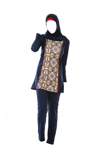 بدلة سباحة للمُحجابات بتصميم مُطبع 0323-03 لون كحلي 0323-03