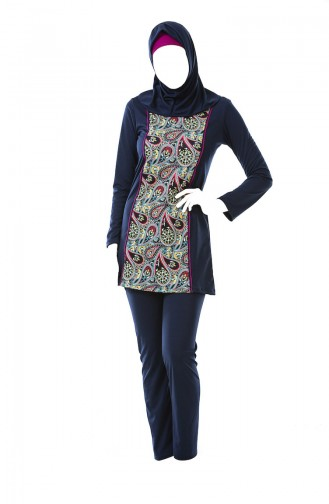 Patterned Hijab Swimsuit 0323A-01 Navy 0323A-01