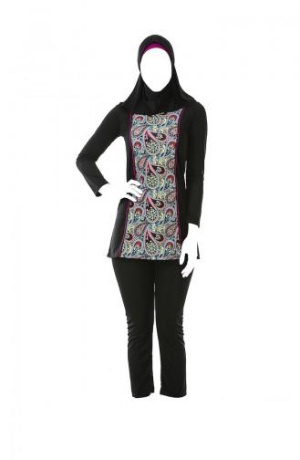 Maillot de Bain Hijab a Motifs 0323A-02 Noir 0323A-02