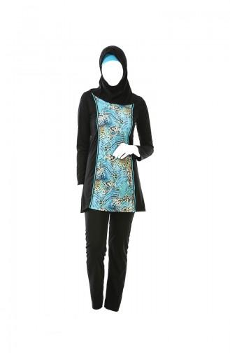 Patterned Hijab Swimsuit 0323B-02 Black 0323B-02