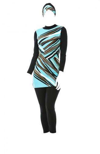 بدلة سباحة للمُحجابات بتصميم مُطبع 0337-01 لون تركواز 0337-01