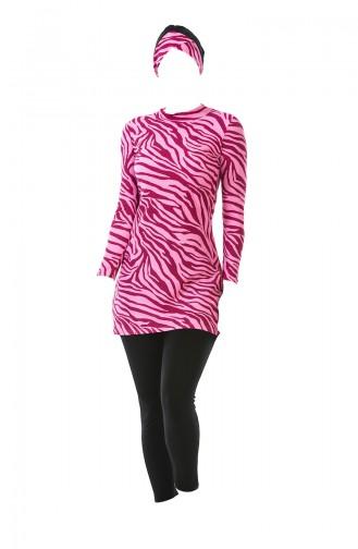 بدلة سباحة للمُحجابات بتصميم مُرقط 0339-01 لون مرجاني 0339-01