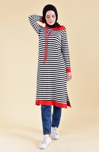 Striped Long Tunic 3011-04 Black Red 3011-04