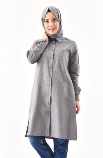 W.B Slit Pocketed Tunic 6350-03 Gray Black 6350-03