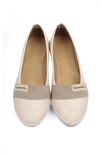Dame Geheftete Espadrille Ballerina  94402-2 Beige 94402-2