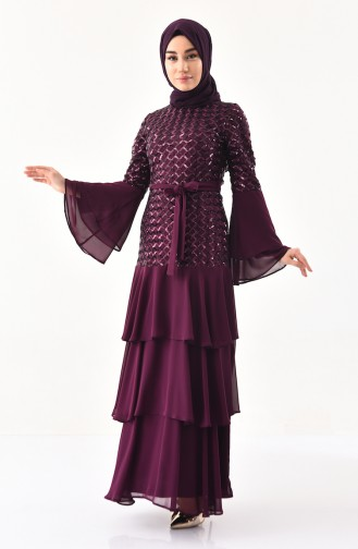 BURUN  Sequin Evening Dress 81672-06 Plum 81672-06