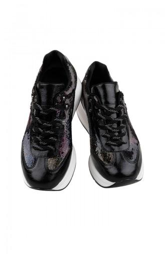 حذاء رياضي نسائي بتفاصيل من الترتر اللامع  3153-01 لون أسود 3153-01