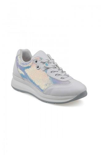 Bayan Spor Ayakkabı 3153-03 Beyaz Beyaz Pullu