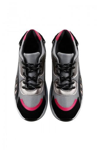 Bayan Spor Ayakkabı 62116-01 Siyah Gümüş