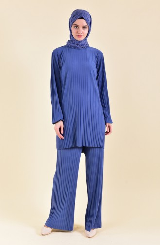 Pleated Tunic Pants Binary Suit 189912-04 Indigo 189912-04