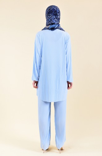 Pleated Tunic Pants Binary Suit 189912-06 Baby Blue 189912-06