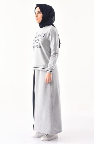 Baskılı Spor Bluz Etek İkili Takım 8304-03 Gri 8304-03